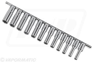 "1/2"" Dr 12PC. Metric Deep Hand Socket Set - 8mm - 19mm + socket holder"