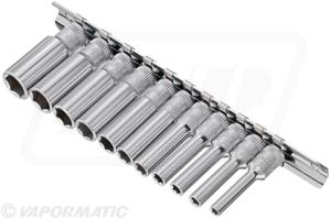 "1/4"" Dr 11PC.Metric Deep Hand Socket Set 4mm – 13mm + socket holder"